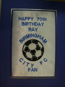 PERSONALISED EMBROIDERED BIRMINGHAM CITY FC CARD - FOOTBALL